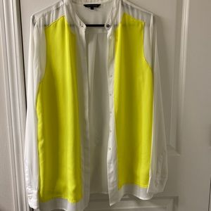 White and Neon Yellow Blouse Tommy Hilfiger